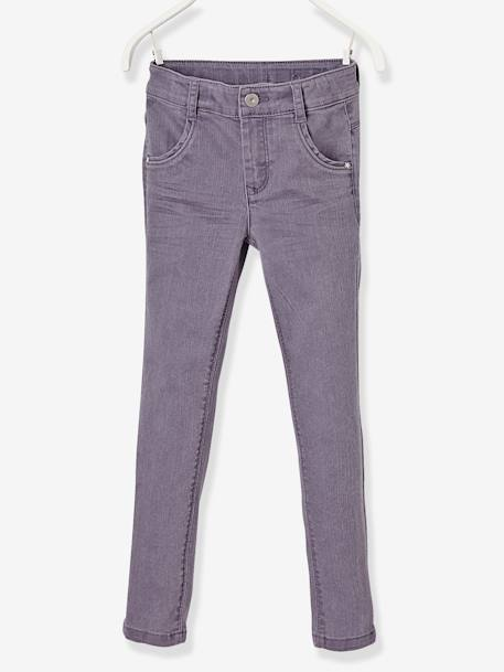 LARGE Fit, Girls' Slim Fit Trousers PURPLE DARK SOLID+WHITE LIGHT ALL OVER PRINTED+YELLOW LIGHT SOLID - vertbaudet enfant