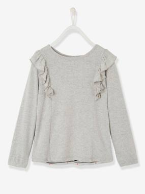 Girls-Cardigans, Jumpers & Sweatshirts-Jumpers-Girls' Dual Fabric Sweatshirt with Frills
