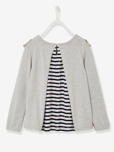 Girls' Dual Fabric Sweatshirt with Frills GREY LIGHT MIXED COLOR - vertbaudet enfant