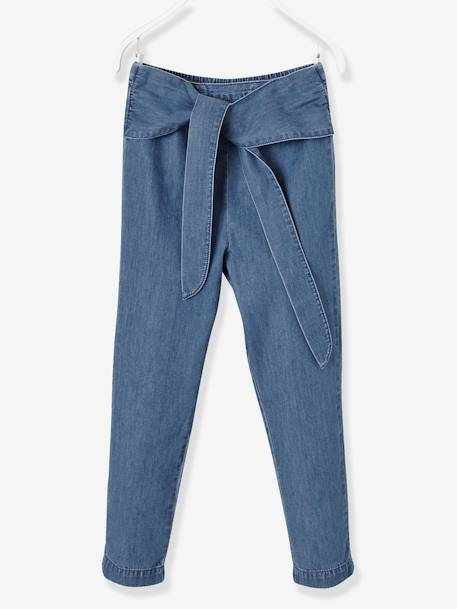 Girls' Chino Trousers in Lightweight Denim BLUE MEDIUM MIXED COLOR - vertbaudet enfant