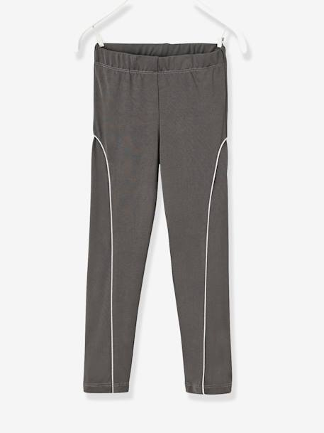 Girls' Sporty Leggings GREY DARK SOLID - vertbaudet enfant