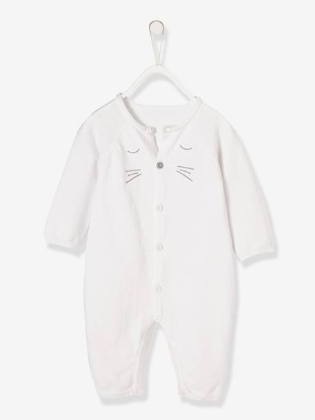 Knitted Jumpsuit for Newborn Babies in Organic Cotton WHITE LIGHT SOLID - vertbaudet enfant