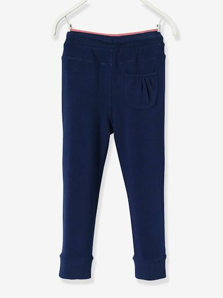 Girls' Fleece Trousers BLUE DARK SOLID+PINK MEDIUM SOLID - vertbaudet enfant