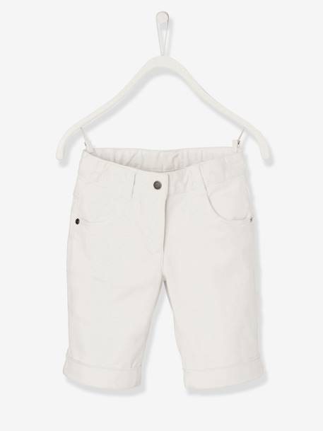 Girls' Stretch Twill Bermuda Shorts GREEN LIGHT SOLID+PINK MEDIUM SOLID+WHITE LIGHT SOLID - vertbaudet enfant