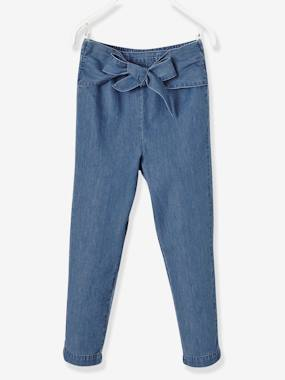 Vertbaudet Collection-Girls-Girls' Chino Trousers in Lightweight Denim
