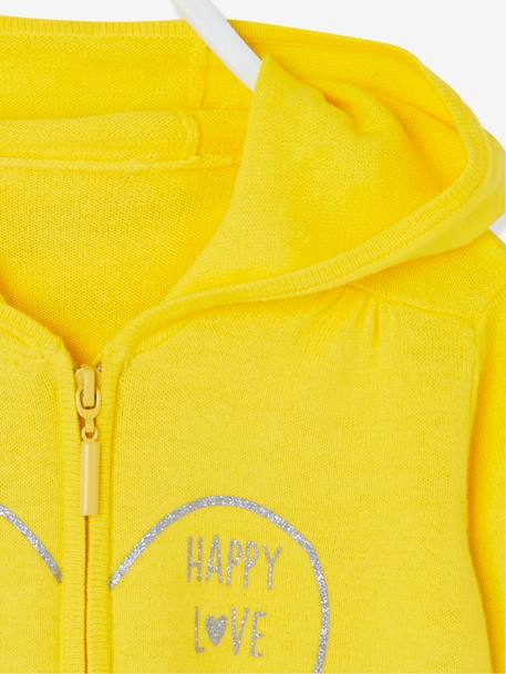 Girls' Hooded Jacket BLUE DARK SOLID WITH DESIGN+RED LIGHT SOLID WITH DESIGN+YELLOW MEDIUM SOLID WTH DESIGN - vertbaudet enfant