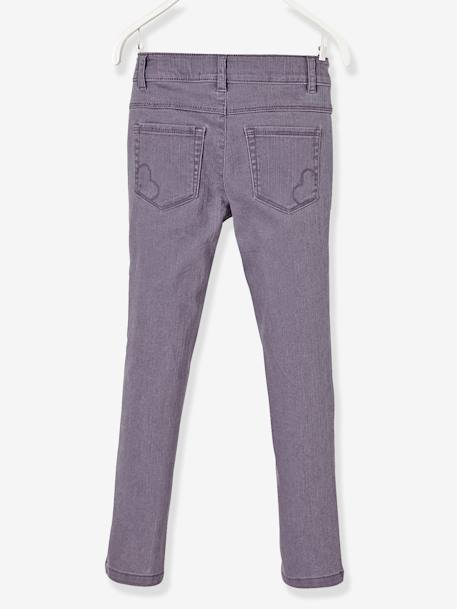 MEDIUM Fit, Girls' Slim Fit Trousers PINK LIGHT SOLID+PURPLE DARK SOLID+WHITE LIGHT ALL OVER PRINTED+YELLOW LIGHT SOLID - vertbaudet enfant