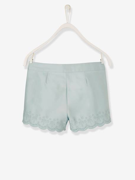 Girls' Shorts with Broderie Anglaise BLUE LIGHT SOLID - vertbaudet enfant