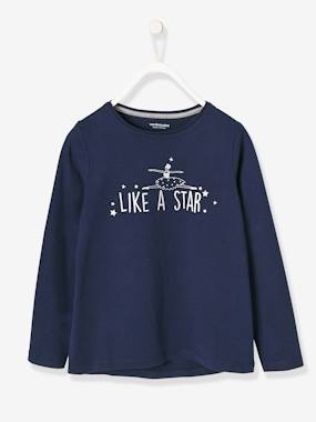 Vertbaudet Collection-Girls-Girls' Long-Sleeved T-shirt with Iridescent Print