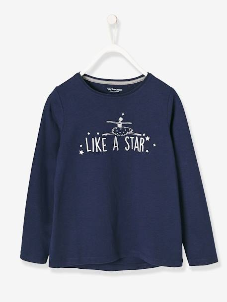 Girls' Long-Sleeved T-shirt with Iridescent Print BLUE DARK SOLID WITH DESIGN+PINK LIGHT SOLID WITH DESIGN+WHITE LIGHT SOLID WITH DESIGN - vertbaudet enfant