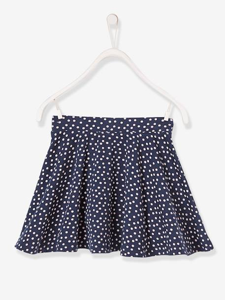 Girls' A-line Skirt BLUE DARK ALL OVER PRINTED+PINK MEDIUM ALL OVER PRINTED - vertbaudet enfant