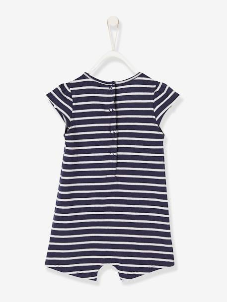 Babies' Playsuit, Beach Special BLUE DARK STRIPED+PINK LIGHT ALL OVER PRINTED - vertbaudet enfant