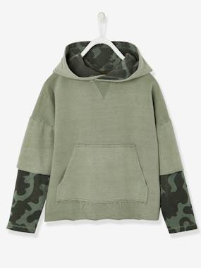 Boys-Sweatshirts & Hoodies-Boys' Hooded Sweatshirt, Layered Look