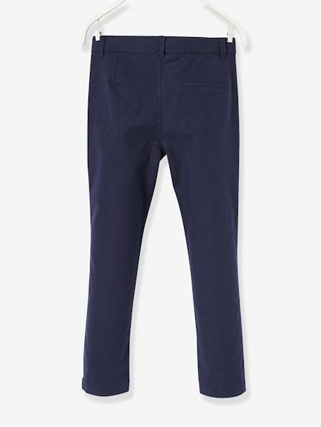 Boys' Chinos, in Cotton and Stretch Linen BLUE DARK SOLID+GREY MEDIUM SOLID+WHITE LIGHT SOLID - vertbaudet enfant