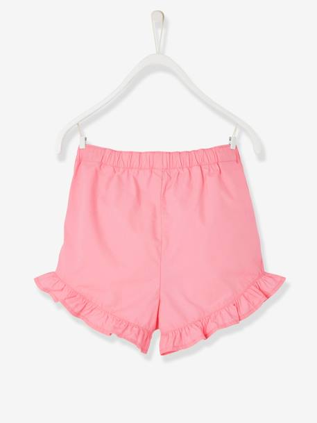 Girls' Poplin Shorts PINK MEDIUM SOLID+YELLOW MEDIUM SOLID - vertbaudet enfant