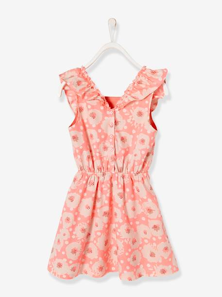 Girls' Dress with Flowery Frill PINK BRIGHT ALL OVER PRINTED+YELLOW MEDIUM ALL OVER PRINTED - vertbaudet enfant