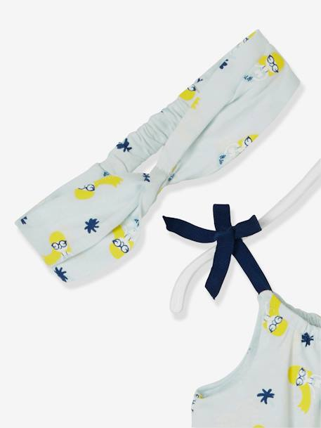 Baby Girls' Jumpsuit and Matching Headband BLUE LIGHT ALL OVER PRINTED+YELLOW MEDIUM STRIPED - vertbaudet enfant