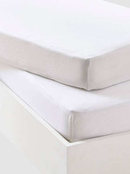 Pack of 2 Plain White Fitted Jersey Sheets White - vertbaudet enfant