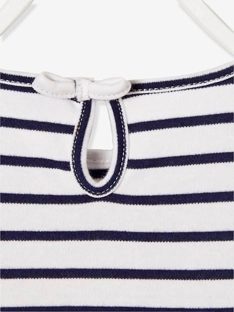 Girls' Dual Fabric Dress PINK LIGHT STRIPED+WHITE LIGHT STRIPED - vertbaudet enfant