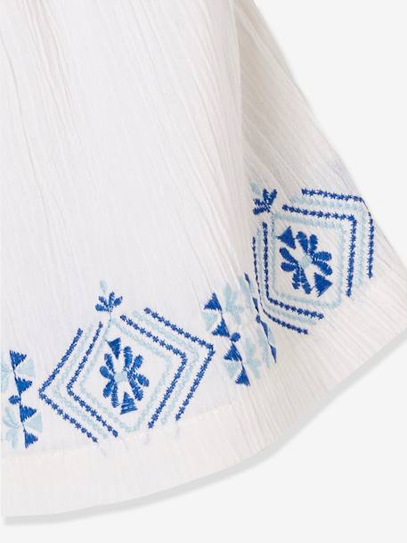 Girls' Embroidered Skirt WHITE LIGHT SOLID WITH DESIGN - vertbaudet enfant