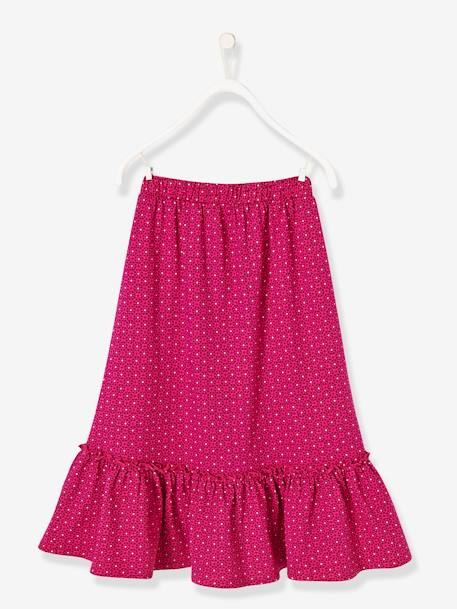 Girls' Long Skirt PINK BRIGHT ALL OVER PRINTED - vertbaudet enfant