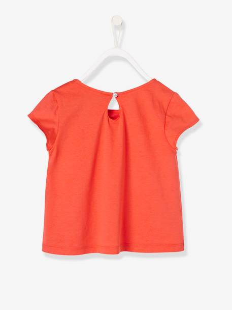 Girls' Dress with Decorative Bow ORANGE BRIGHT SOLID - vertbaudet enfant