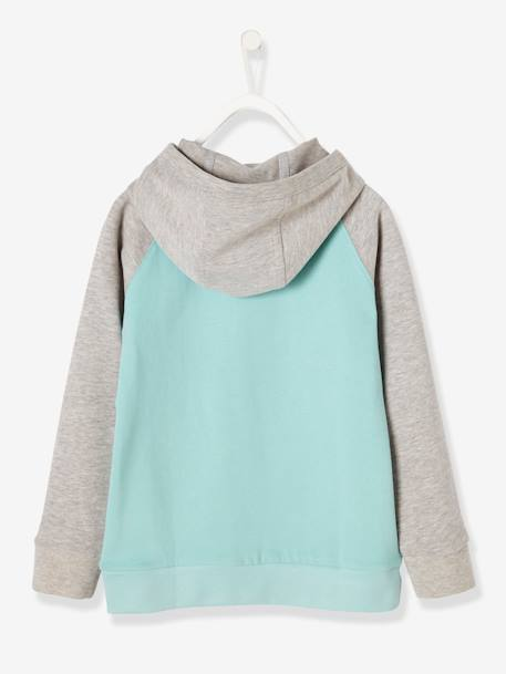 Boys' Hooded Sweatshirt GREEN LIGHT SOLID WITH DESIGN - vertbaudet enfant