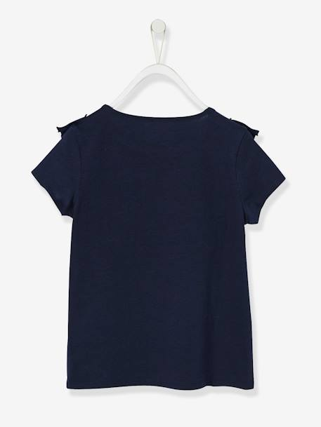 Girls' Long-Sleeved T-shirt with Frills BLUE DARK SOLID WITH DESIGN+WHITE LIGHT SOLID WITH DESIGN - vertbaudet enfant