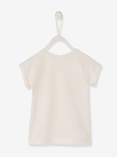 Baby Girls' T-Shirt with Iridescent Motif WHITE LIGHT SOLID WITH DESIGN - vertbaudet enfant