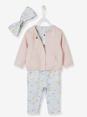 Baby-Dungarees & All-in-ones-Baby Girls' Jumpsuit + Jacket + Headband Outfit