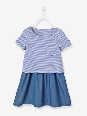 Outlet-Girls-Dresses-Girls' Reversible Dual Fabric Dress