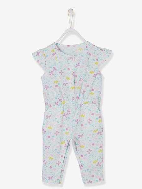 Baby Girls' Jumpsuit + Jacket + Headband Outfit BLUE LIGHT ALL OVER PRINTED - vertbaudet enfant