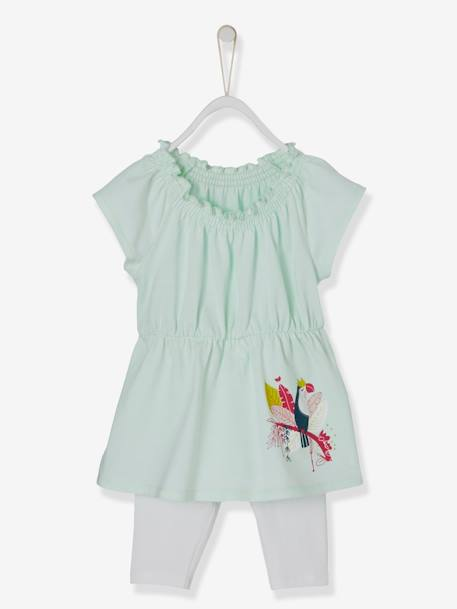 Baby Girls' Dress and Leggings Outfit, Iridescent Toucan GREEN LIGHT SOLID WITH DESIGN - vertbaudet enfant