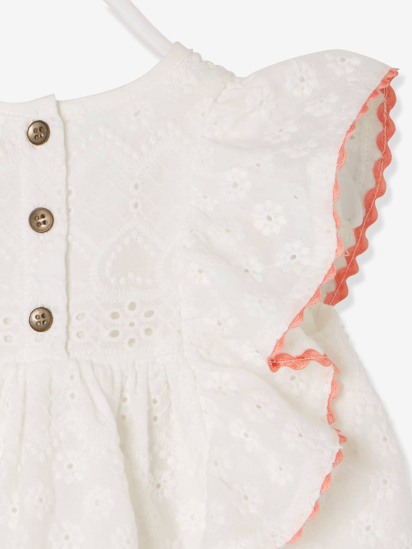 29499f675d3 Baby Girls  Dress with Broderie Anglaise and Frill - white light solid