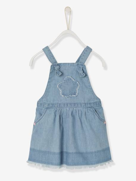 Baby Girls' Denim Dress with Crossed Straps BLUE LIGHT WASCHED - vertbaudet enfant