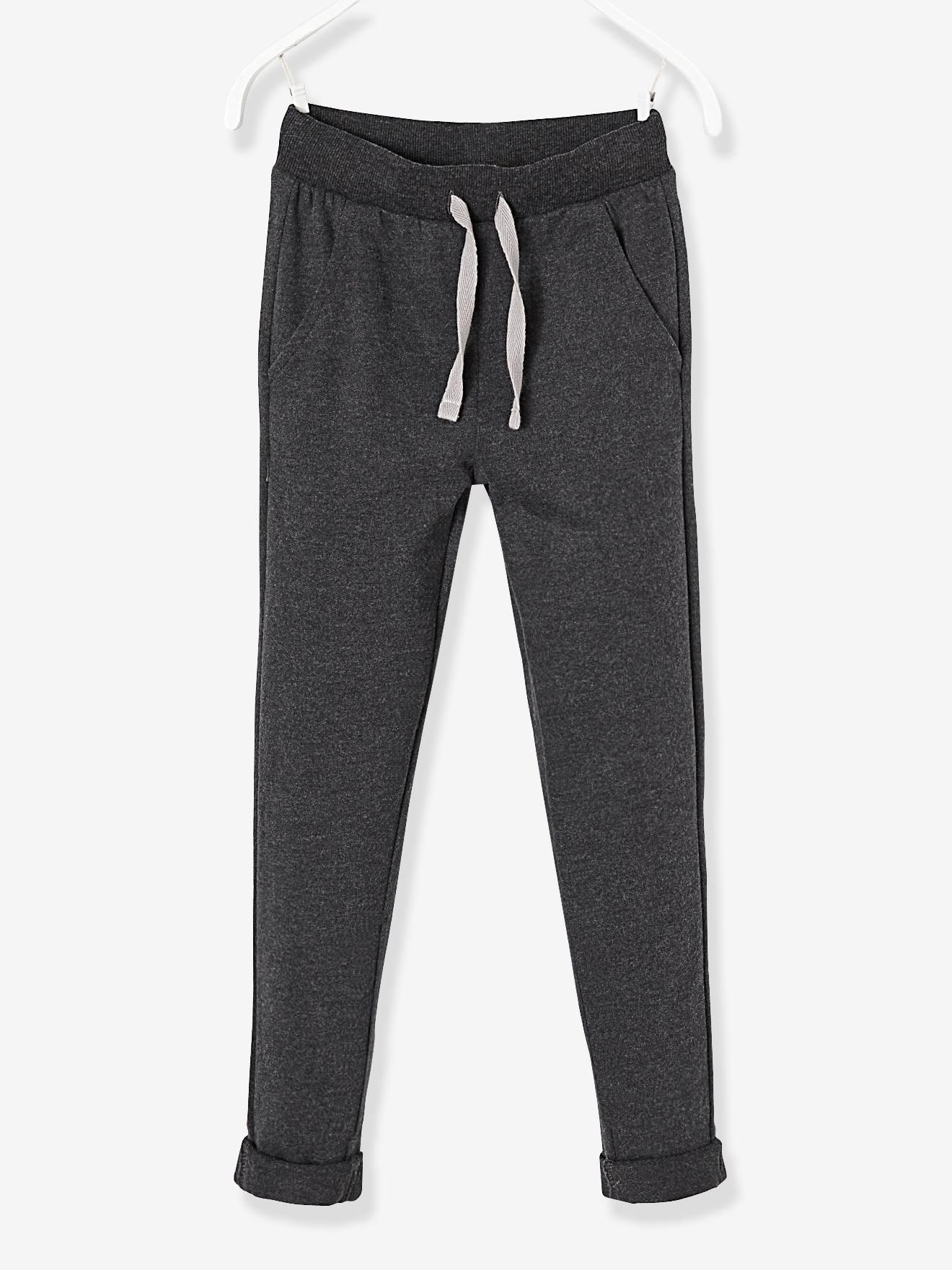 Pantalon garçon en molleton - noir chiné,