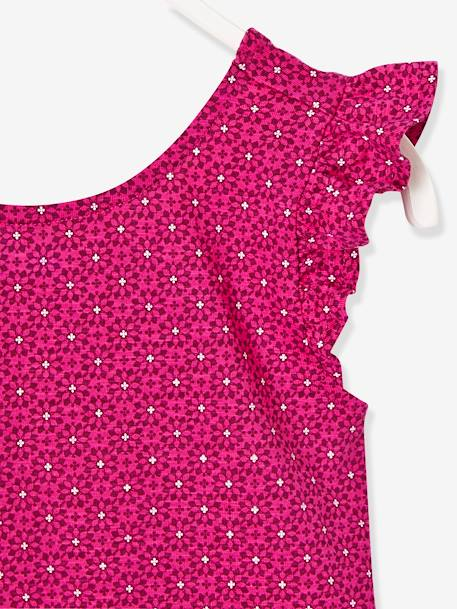 Girls' Printed Dress with Frills GREEN LIGHT ALL OVER PRINTED+PINK BRIGHT ALL OVER PRINTED - vertbaudet enfant