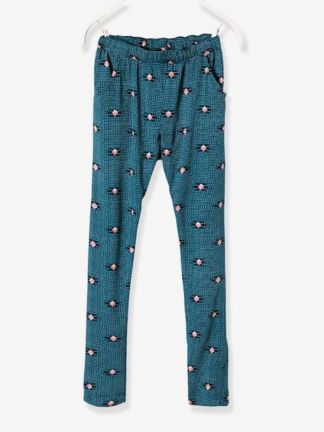Girls' Printed, Loose-Fitting Trousers BLUE MEDIUM ALL OVER PRINTED+GREEN LIGHT ALL OVER PRINTED - vertbaudet enfant