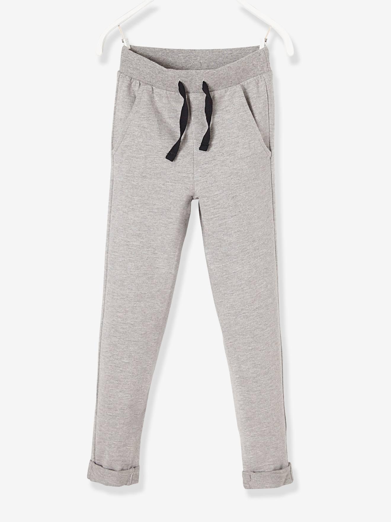 Pantalon garçon en molleton - gris chiné,