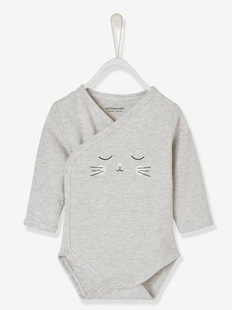 2-Piece Cat Set, for Newborn Babies GREY LIGHT MIXED COLOR+PINK LIGHT ALL OVER PRINTED - vertbaudet enfant