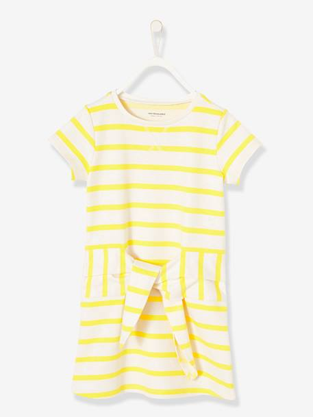 Dress in Striped Fleece YELLOW BRIGHT STRIPED - vertbaudet enfant