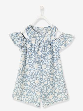 Vertbaudet Collection-Girls' Short Playsuit in Lightweight Denim