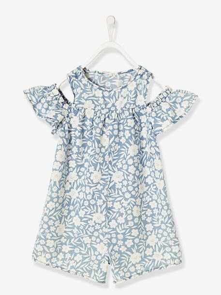 Girls' Short Playsuit in Lightweight Denim BLUE LIGHT WASCHED - vertbaudet enfant