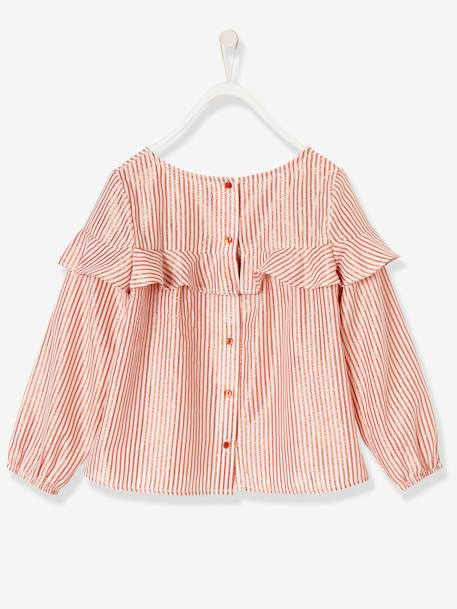 Girls' Blouse with Frills PINK MEDIUM STRIPED - vertbaudet enfant