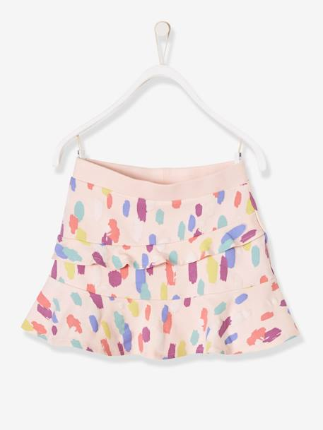 Girls' Fleece Skort GREY LIGHT MIXED COLOR+PINK LIGHT ALL OVER PRINTED+PURPLE MEDIUM ALL OVER PRINTED - vertbaudet enfant