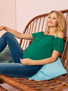 Maternity-T-shirts & Tops-Off-the-Shoulder Maternity Top