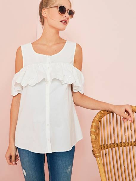 Maternity & Breastfeeding Embroidered Blouse, Off-the Shoulder WHITE LIGHT SOLID - vertbaudet enfant