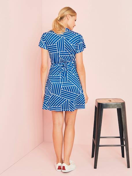 Wrapover-Style Maternity Dress BLACK DARK SOLID+BLUE DARK ALL OVER PRINTED - vertbaudet enfant