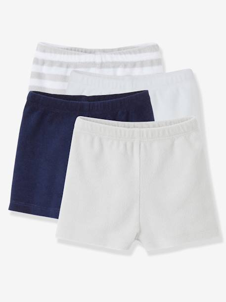 Pack of 4 Baby Boys Terry Swim Shorts Pale grey striped - vertbaudet enfant
