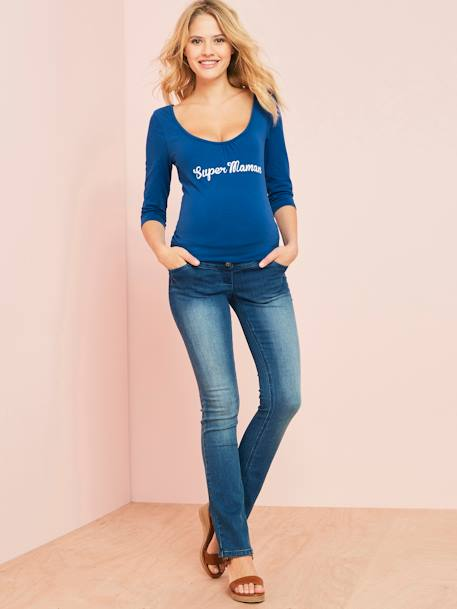 Maternity Jumper with Wording BLUE DARK SOLID WITH DESIGN - vertbaudet enfant